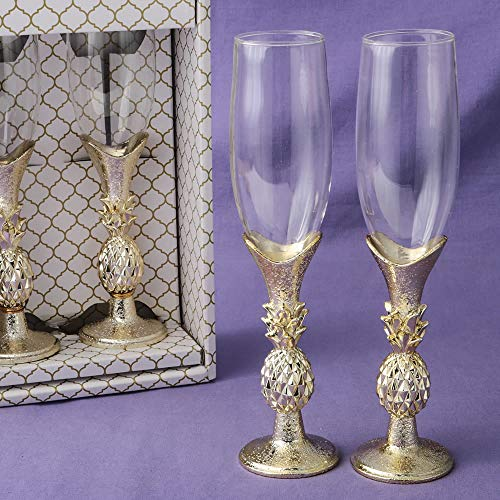 Set of 2 Gold Pineapple Themed Toasting Champagne Flutes