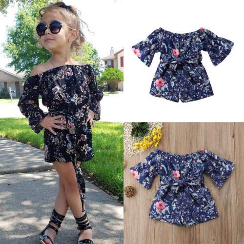 LXXIASHI Toddler Kids Baby Girl Floral Print Off Shoulder Bell Sleeve Shorts Jumpsuit Overall Romper