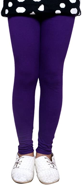Indistar Little Girls Cotton Full Ankle Length Solid Leggings Pack of 9 -Multiple Colors-3-5 Years