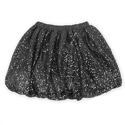 Coralup Little Girls Sparkle Sequins Ballet Tutu Skirts (Girls Black Sequin)