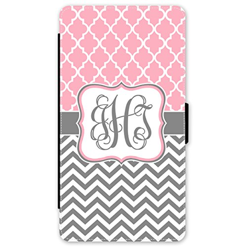 iPhone 7 Wallet Case Pink Lattice Grey Chevron Monogram Monogrammed Personalized Case (4.7 inch) by Simply Customized (Pink Monogram Iphone)