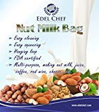 Edel Chef Nut MIlk Bag, 12'X12' Commercial Grade - Reusable Almond Milk Bag & All Purpose Food Strainer - Fine Mesh Nylon Cheesecloth & Cold Brew Coffee Filter - With a Free Recipe