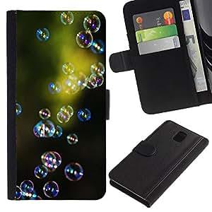 WINCASE Cuadro Funda Voltear Cuero Ranura Tarjetas TPU Carcasas Protectora Cover Case Para Samsung Galaxy Note 3 III - naturaleza verde reflexivo reflexión