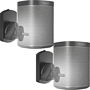 WALI SONOS Speaker Wall Mount Brackets for SONOS Play 1 and Play 3 Multiple Adjustments, Hold up to 22lbs, (SWM001-2), 2 Packs,Black