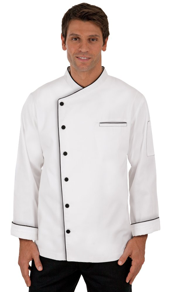 Men's Long Sleeve Chef Coat with Piping (XS-3X, 3 Colors) (X-Large, White)