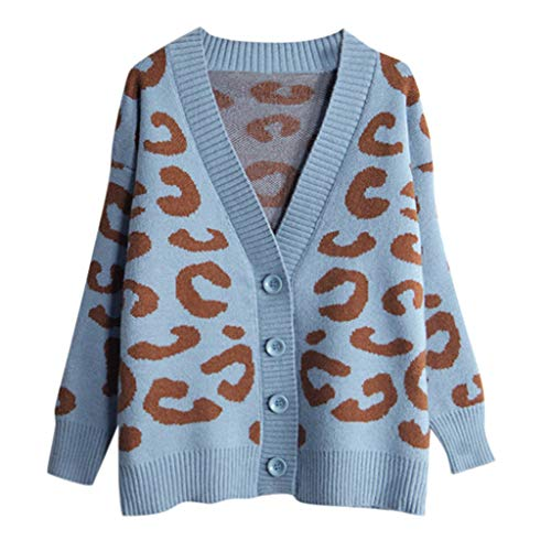 MEEYA Button V Neck Long Sleeve Leopard Print Cardigan for Women Winter, Loose Women Sweater Coat for Holiday Blue