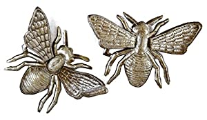 """'Buzzing Around' Haitian Metal Bumble Bee Wall Art, Bumble Bee Wall Decor For House Or Garden, Recycled Haitian Metal Wall Art, Set of 2, 6"""" x 6"""""""