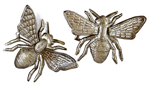 Buzzing Around Haitian Metal Bumble Bee Wall Art, Bumble Bee Wall Decor for House or Garden, Recycled Haitian Metal Wall Art, Set of 2, 6 x 6 Inches
