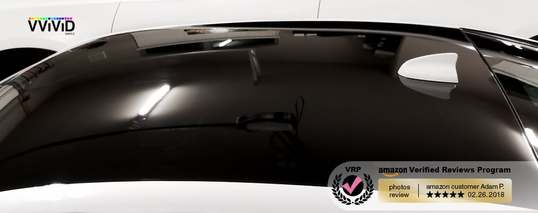 Black Gloss 3ft x 5ft Car Wrap Vinyl Roll with Air Release 3MIL-VViViD8
