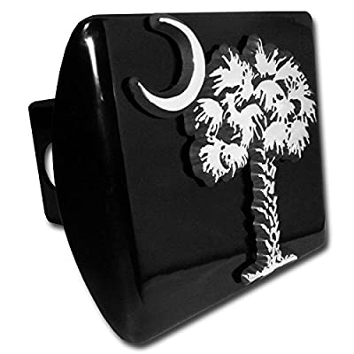 South Carolina Palmetto Tree and Moon METAL emblem on black METAL Hitch Cover: Automotive