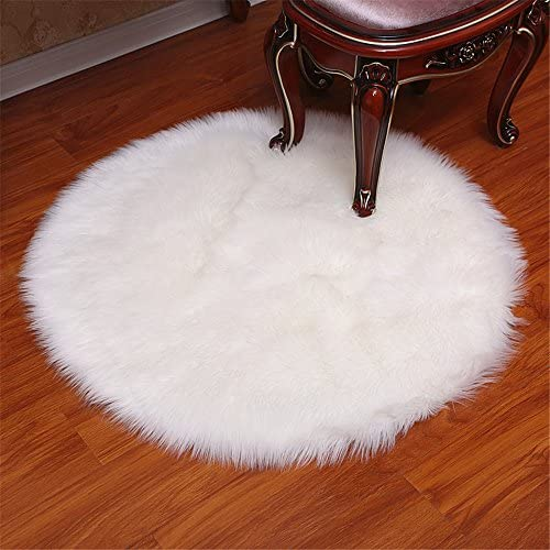 Luxury Premium Round Faux Fur Fluffy Sheepskin Shaggy Area Rug Home Decorative Bedroom Carpet Rug white,8ft