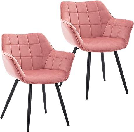 Duhome 2X Chaise Salle à Manger Chaise rembourrée Design Retro Fauteuil avec Pieds en Metal 8092C1, Couleur:Rose, matière:Velours