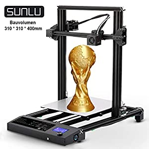 Sunlu 3d printer diy kit, large size fdm 3d printer 12″x 12″ x 15.5″ with dual z axis printing, filament run out detection, and resume printing