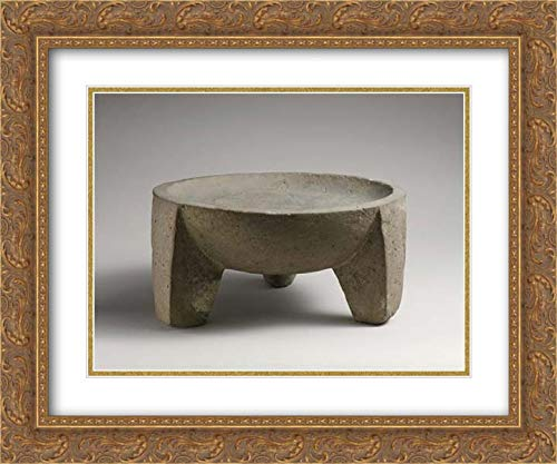 Cypriot Culture - 24x20 Gold Ornate Frame and Double Matted Museum Art Print - Basalt Tripod Vessel or Mortar