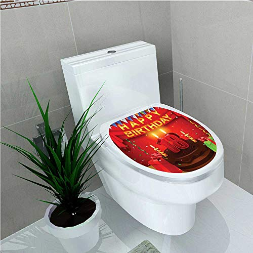 aolankaili Toilet Seat Sticker Decoration 18 Happy Birthday Party with Curtains Cakes Baloons Image Red and Burgundy W15 x L17 -