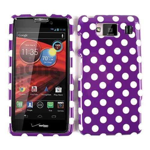 Unlimited Cellular Big White Dots Snap on Faceplate Case for Motorola XT926 Droid Razr Maxx HD (White Dots on Purple)