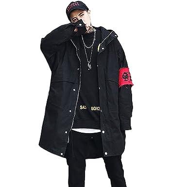 553855d1c3cd0b Amazon | トレンチコート ロングジャケット メンズ 韓国風 カジュアル アウター メンズファッション ゆったりタイプ コート ジャケット  チェスターコート | コート・ ...