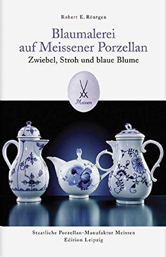 Blaumalerei auf Meissener Porzellan: Zwiebel, Stroh und blaue Blume