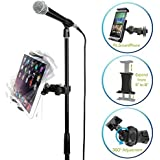 AccessoryBasics EasyAdjust cymbal Microphone Mic Stand Tablet Mount for Apple iPad PRO Air Mini Samsung Galaxy Tab Surface Pro/Book & iPhone X 8 7 Plus 6S Galaxy S8 S7 Note LG V30 MOTO Smartphones