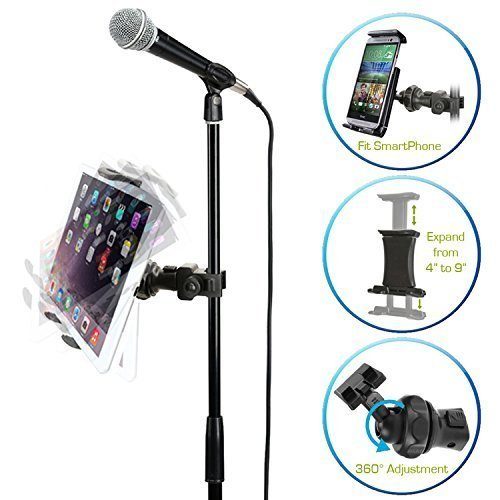 (AccessoryBasics EasyAdjust cymbal Microphone Mic Stand Tablet Mount for Apple iPad PRO Air Mini Samsung Galaxy Tab Surface Pro/Book & iPhone XR XS MAX X 8 7 Plus 6S Galaxy S9 Note LG V30 Smartphones)