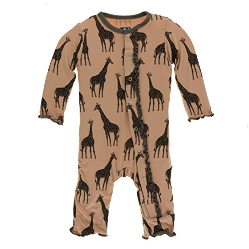 Kickee Pants Little Girls Print Muffin Ruffle Coverall with Snaps - Suede Giraffes, 6-9 Months
