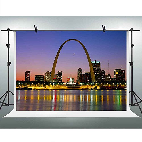 FHZON 10x7ft St. Louis Arches Background Night Moon Light Photography Backdrop Themed Party YouTube Backdrops Photo Booth Studio Props TMFH334