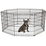 Pet Premium Dog Puppy Playpen Pen | Indoor Outdoor Exercise Play Yard Outside | Pet Small Animal Puppies Portable Foldable Fence Enclosures | 30'' Height, 8 Panel Metal Wire, Black