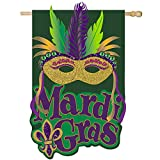 Evergreen Flag Mardi Gras Mask Burlap House Flag, 28 x 44 inches