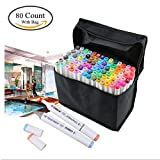 Togood 80 Colors Dual Tips Art Marker Pens, Highlighters Professional Marker Set for Adult Kids Coloring Drawing Sketching