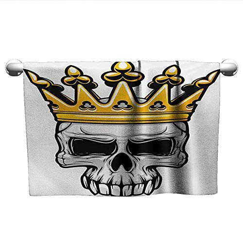 (xixiBO Adult Towel W35 x L12 King,Hand Drawn Crowned Skull Cranium with Coronet Tiara Halloween Themed Image,Golden and Pale Grey Decent Towels)