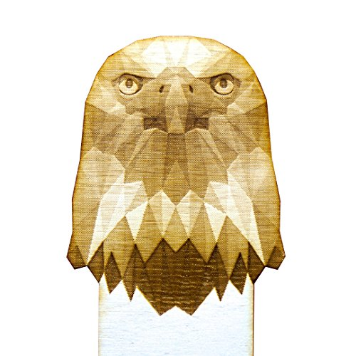 Laser Engraved Custom Geometric Wooden Eagle Bookmark. Laser Cut from Birch Wood. Unique Gift for Animal Lovers and Beloved Readers.