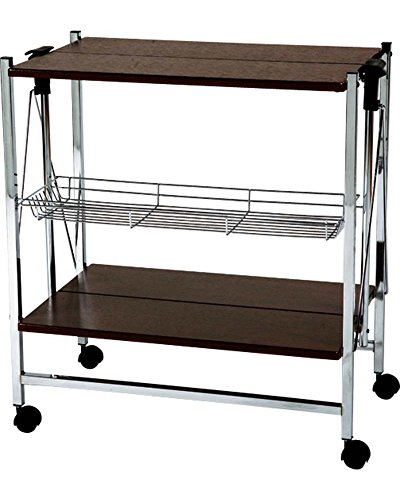 Cheap AZUMAYA Folding Chrome Kitchen Cart Wheels Storage Brown PW-314BR KD Furniture