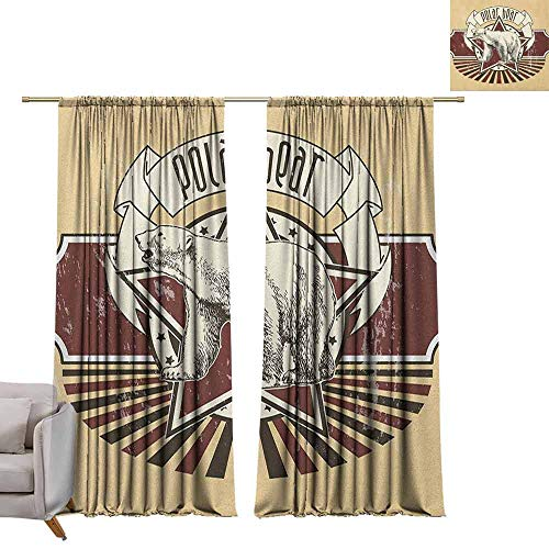 (Bedroom Curtains Animal,Vintage Retro Polar Bear Label with Bold Stripes Artwork Image, Peach White Black and Burgundy W96 x L96 Printed Window Curtains for Kitchen )