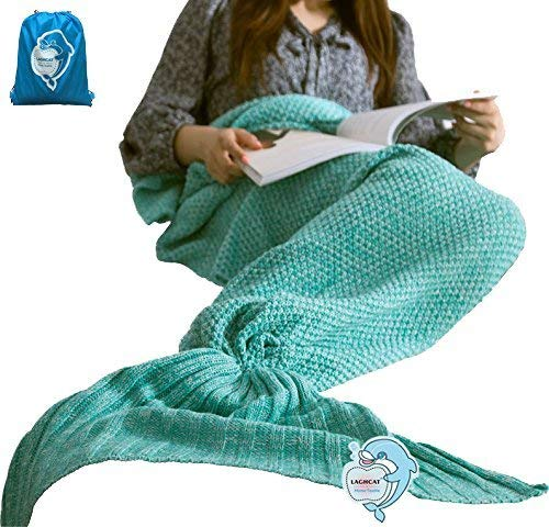 LAGHCAT All Seasons Mermaid Tail Blanket Knit Crochet and Cool color Mermaid Blanket for Adult,Sleeping Blankets (71″x35.5″, vivid green)