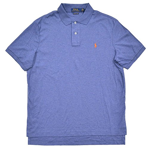 Polo Ralph Lauren Mens Pima Cotton Interlock Polo (L, Medium Blue - Orange - Polo Ralph Orange Lauren And Blue
