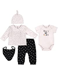 Petit Lem Baby 5 Piece Set Top, Bib, Bodysuit, Hat and Pants