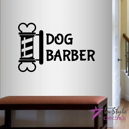 - Wall Vinyl Decal Home Decor Art Sticker Dog Barber Sign Emblem Dog Hair Pet Grooming Salon Room Removable Stylish Mural Unique Design 2163