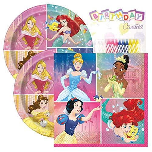 Princess Themed Party Pack – Includes Paper Plates & Luncheon Napkins Plus 24 Birthday Candles – Servers -