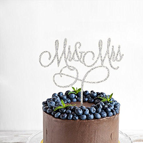 Acrylic Mr & Mrs Cake Topper, Monogram Wedding Bridal Shower Anniversary Decoration Gift Favors, Bling Metal, Silver (Mr & Mrs 4)