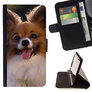 KingStore / Leather Etui en cuir / Samsung Galaxy S3 MINI 8190 / Papillon Chihuahua peque?o perro canina