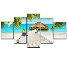 Seascape Picture Modern Painting on Canvas Green Palm Tree Landscape Wall Art 5 Piece Framed Artwork for Living Room Bedroom Kitchen Home Deco Stretched Gallery Canvas Wrap Giclee Print(50''W x 24''H)
