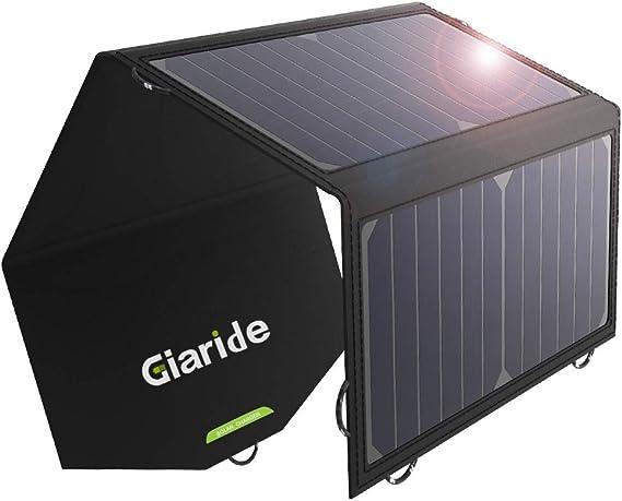 GIARIDE 21W 18V Portable Foldable Solar Charger 5V USB 18V DC Output Sunpower Solar Panel for Tablet, iPad, iPhone, Galaxy, 12V Car/Boat/RV Battery, ...