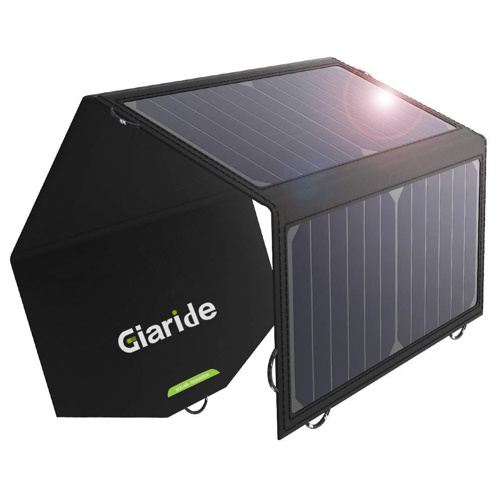 GIARIDE 12V 18V 21W Cargador Panel Solar Sunpower Baterías de Coche Plegable Placa Solar Portátil (18V DC, 5V USB Salida) para Tablets Móviles iPhone ...