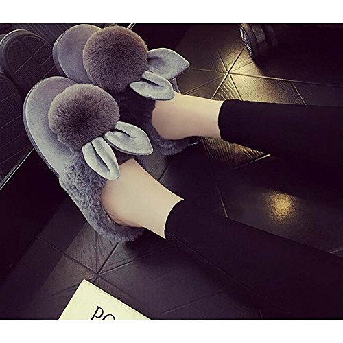 Eastlion Women's Winter Home Indoor Keep Warm Anti-Skid Lovely Plush Slippers Shoes,Boots Dark Pink