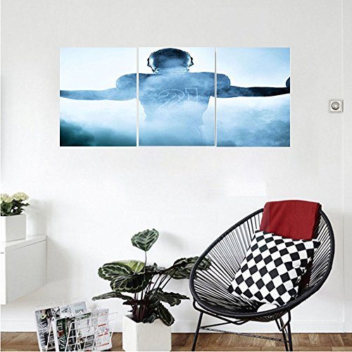Liguo88 Custom canvas Sports Decor Collection Heroic Shaped Rugby Player Silhouette Shadow Standing in Fog Playground Global Sports Photo Bedroom Living Room Wall Hanging (Home Rugby Shirt Collection)