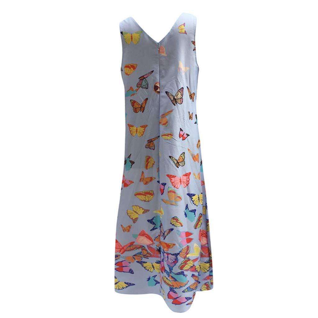 Shusuen Woman Sleeveless Loose Plain Maxi Dresses Casual Long Dresses with Pockets Sexy V Neck Tunics Smock Blue by Shusuen_Clothes (Image #5)
