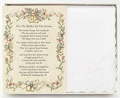 Wedding Handkerchief Poetry Hankie (for Groom's Mother from Friend or Family) White, Lace Embroidered Bridal Keepsake, Beautiful Poem | Long-Lasting Memento for The Groom's Mother | Includes Gift Box