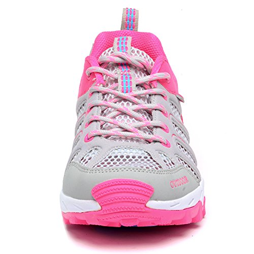 Odema Frauen Outdoor Wandern Sneakers Ultradünne 2,0 Mesh Schnell Trocknende Aqua Wasser Schuhe Graues Rot