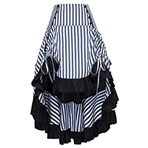 Belle Poque Vintage Striped Victorian High Low Skirt Steampunk Style Falda