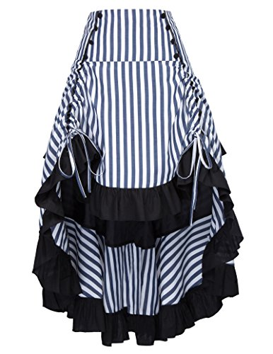 Belle Poque Striped Steampunk Gothic Victorian High Low Skirt Bustle Style 3